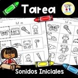 Spanish Homework:  009:  TAREA Sonidos iniciales - Initial Sounds