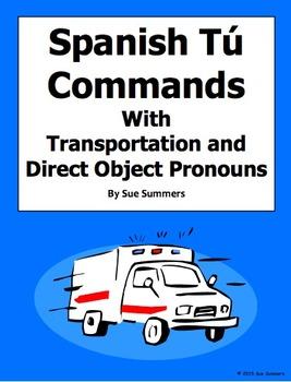Spanish Informal Tu Commands & Transportation Worksheet #1