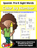 Spanish Pre-Kinder Sight Words (Dolch) Color By Number Mini Books