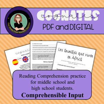 Spanish Reading Comprehension Practice- Cognates!