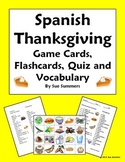 Spanish Thanksgiving Food Game Cards, Flashcards, Quiz, an