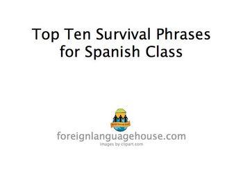 Spanish Top Ten Classroom Survival Phrases PowerPoint