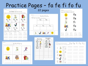 Spanish syllables Practice Pages da de di do du and fa fe