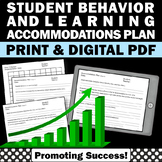 Special Education Accommodation Plan Autism IEP Behavior A