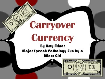Speech Therapy: Articulation Carryover Currency Activity