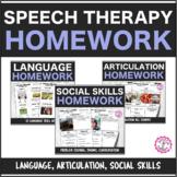 Speech Therapy Weekly Homework Bundle: Language, Articulat