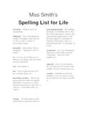 Spelling List for Life