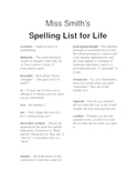 Spelling List for Life