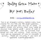 Spelling Menu and Task Cards