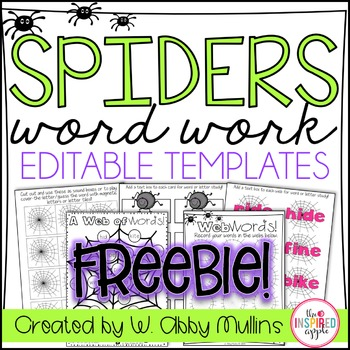 Spiders Word Work FREEBIE! {editable templates}