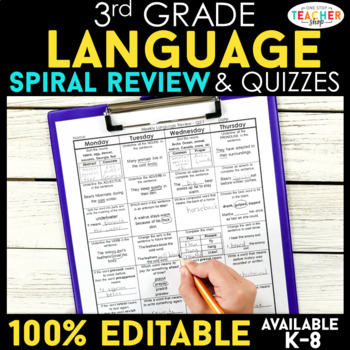 3rd Grade Spiral Language Homework {Common Core} ENTIRE YEAR!!! - 100% Editable