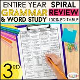 3rd Grade Spiral Language Homework {Common Core} ENTIRE YE