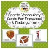 Sports Vocabulary Cards for Preschool and Kindergarten
