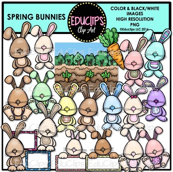 Spring Bunnies Clip Art Bundle