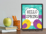 Spring Poster Quote Birds Springtime Sign Decoration Class