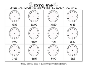 Spring Time Freebie: Telling Time to fifteen minutes