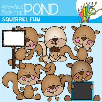 Squirrel Fun - Fall Clipart Set