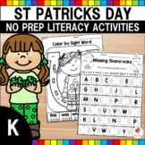 St. Patrick's Day Kindergarten Literacy Worksheets (Common