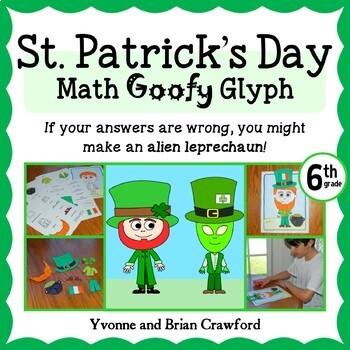 St. Patrick's Day Math Goofy Glyph (6th grade Common Core)