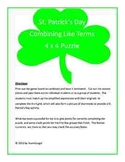 St. Patrick's Day Math Puzzle - Combining Like Terms (Hard