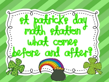 "St Patrick's Day  Math Station "" Before and After?"""