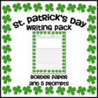 St. Patrick's Day Writing Pack -- Border Paper with 5 Prompts