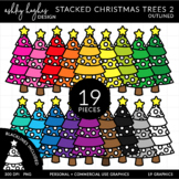 Stacked Stitched Christmas Trees 2 {Graphics for Commercial Use}