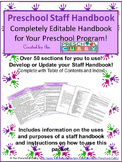 Staff Handbook for Preschool- Completely Editable