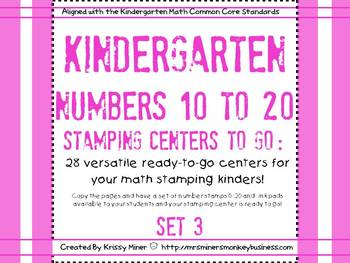 Stamping Math Centers Set 3: #s 10 to 20 Common Core Align