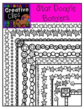 Star Doodle Borders {Creative Clips Digital Clipart}
