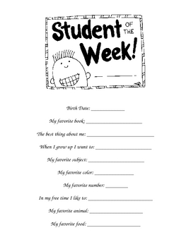Star Student of the Week Form