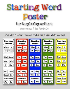 Starting Word Poster for Beginning Writers