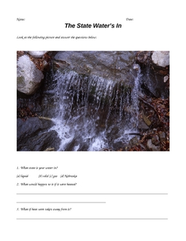 States of water / states of matter worksheets