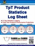 FREE Statistics Log Sheet, Data Analytics, TpT Product Per