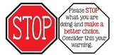 Stop Warning Sign-Classroom Management