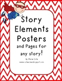 Story Elements Posters and Practice! Black Chevron