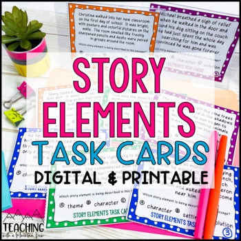 Story Elements Task Cards { Character, Setting, Problem, Solution, Theme }