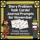 Story Problem Task Cards / Journal Prompts for November