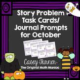 Story Problem Task Cards / Journal Prompts for October