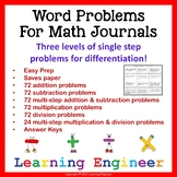 Word Problems for Math Journals Multiplication, Division,