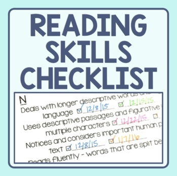 Reading Strategy Checklist - Guided Reading Level Skill Progression
