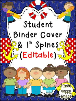 Student Binder & Spines ~ Nautical ~ Editable