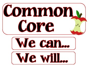 Student Friendly First Grade Common Core Display Cards and