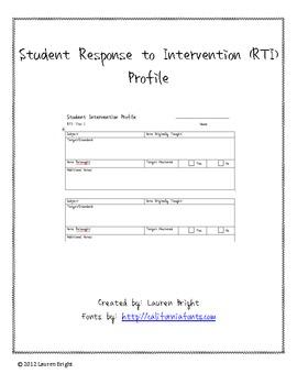 Student RTI Profile