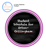 Student Schedule Printable for Orton-Gillingham 1 Page Les