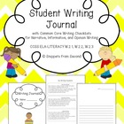 Student Writing Journal with Common Core Writing Checklist