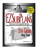 EZSubPlans: Emergency Absence Plans Grade 5 Day 2