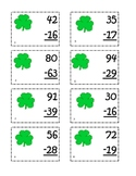 Subtraction Regrouping Scoot-St. Patrick's Day Style