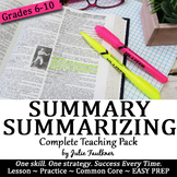 Summarizing Complete Teaching Pack, Any Text, Reading Comp