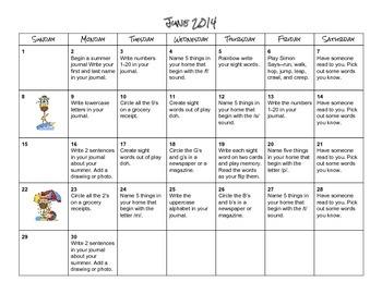 Summer 2014 Activity Calendars